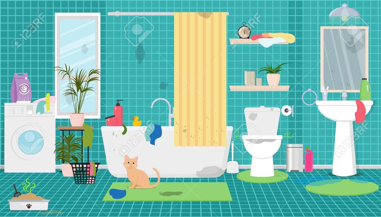 Dirty bathroom vector illustration.