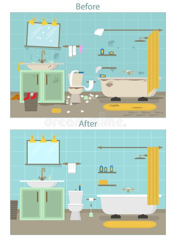 Dirty Bathroom Stock Illustrations.