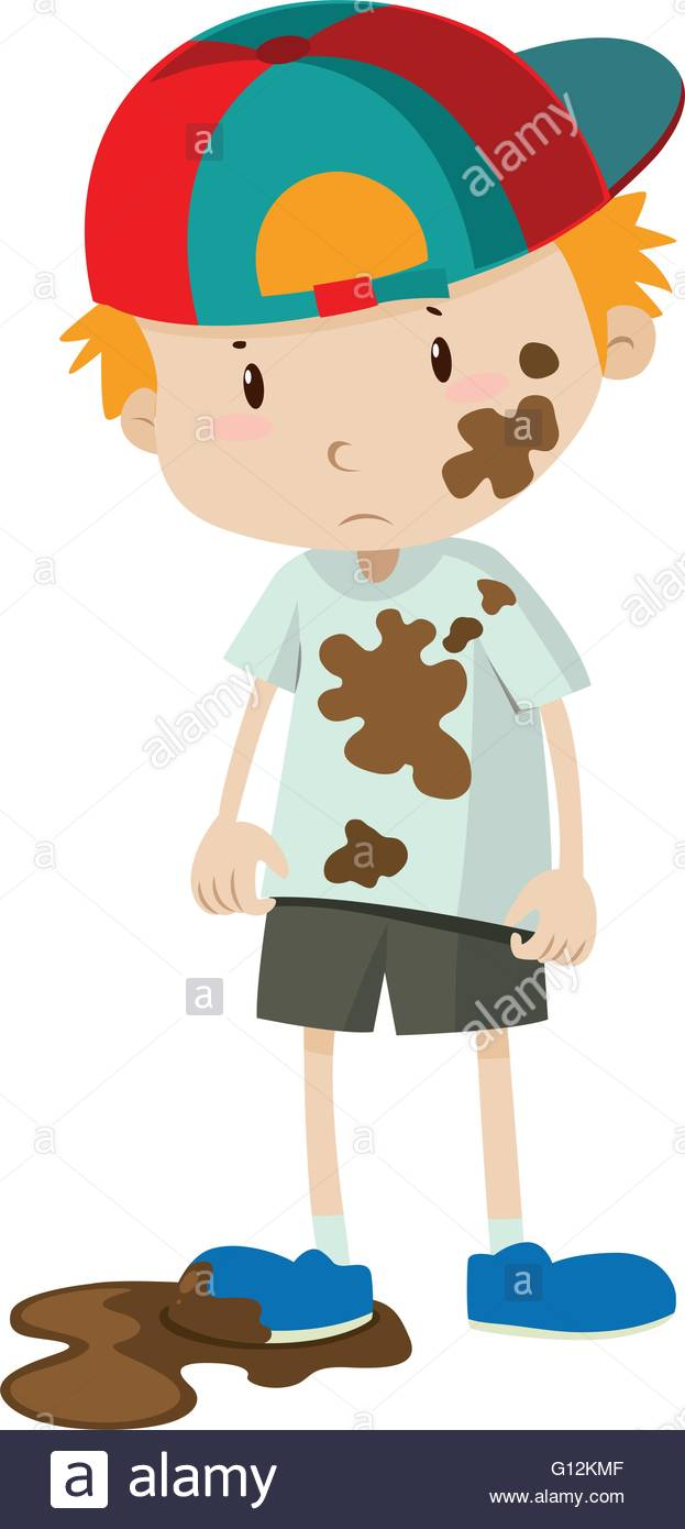 Little boy wearing dirty clothes illustration Stock Vector Art.