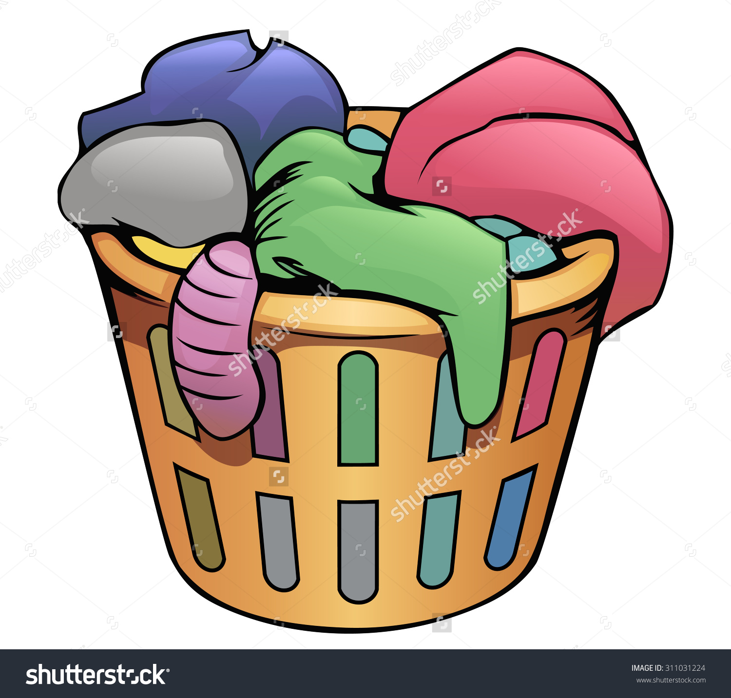Dirty Laundry Basket Clipart.