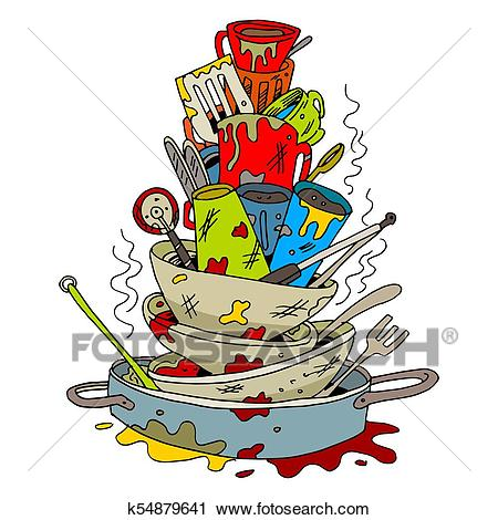 Stack of Dirty Dishes Clipart.