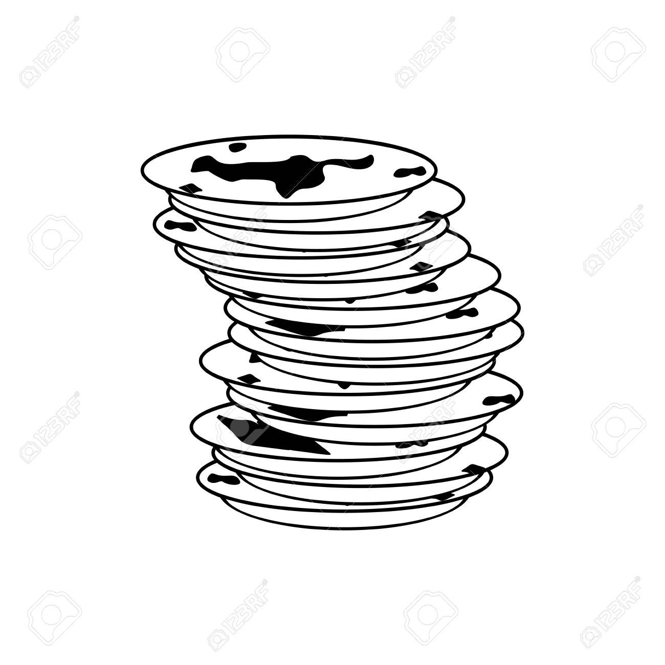 Dirty Dishes Clipart Black And White.