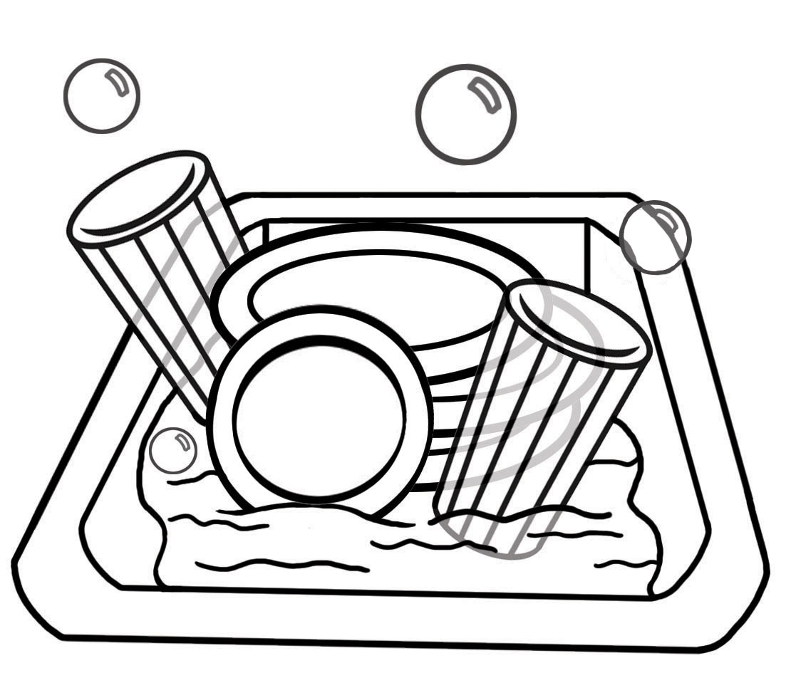 Black and white drawing of dirty dishes in the sink free image.