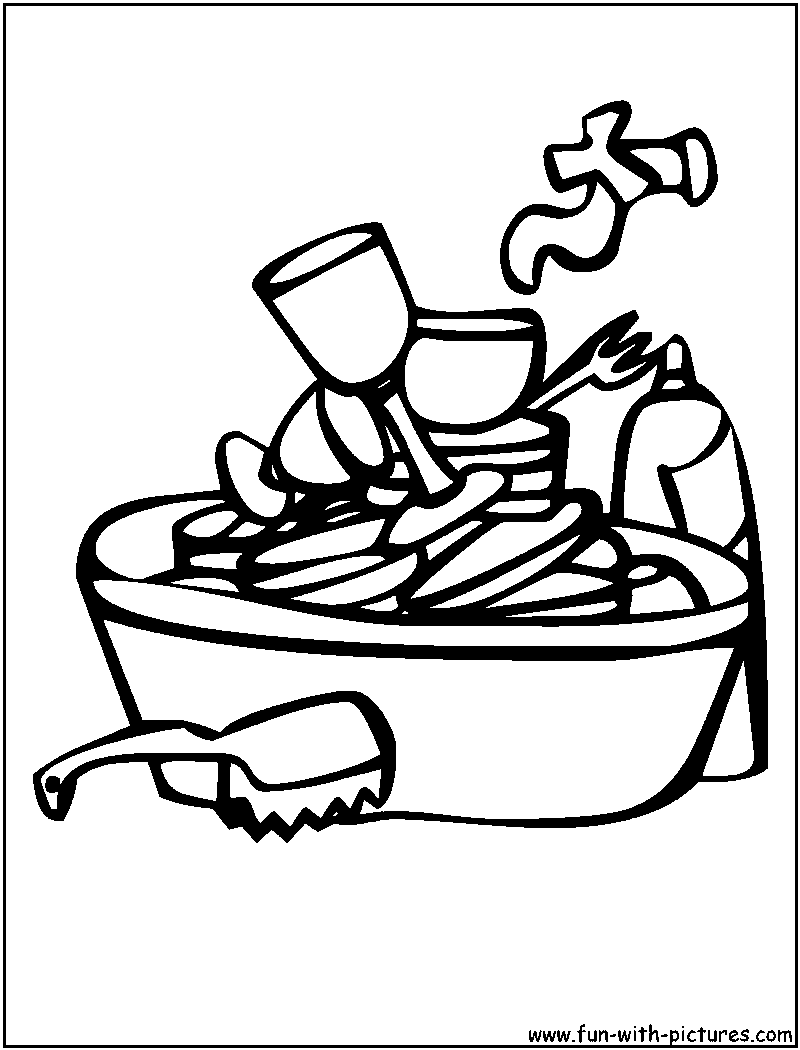 Dirty Dishes In Sink Clipart