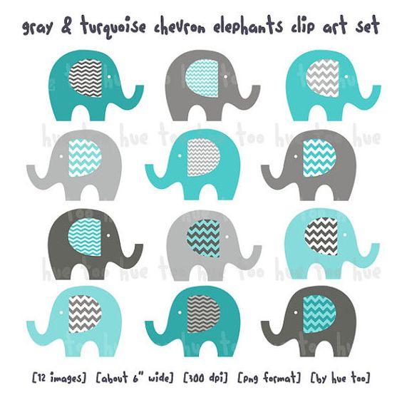 elephants clip art, boys chevron elephant clipart, gray blue aqua.