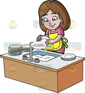 A Girl Washing A Stack Of Dirty Dishes.
