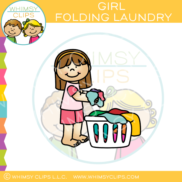 Girl Putting Laundry in Basket Clip Art.