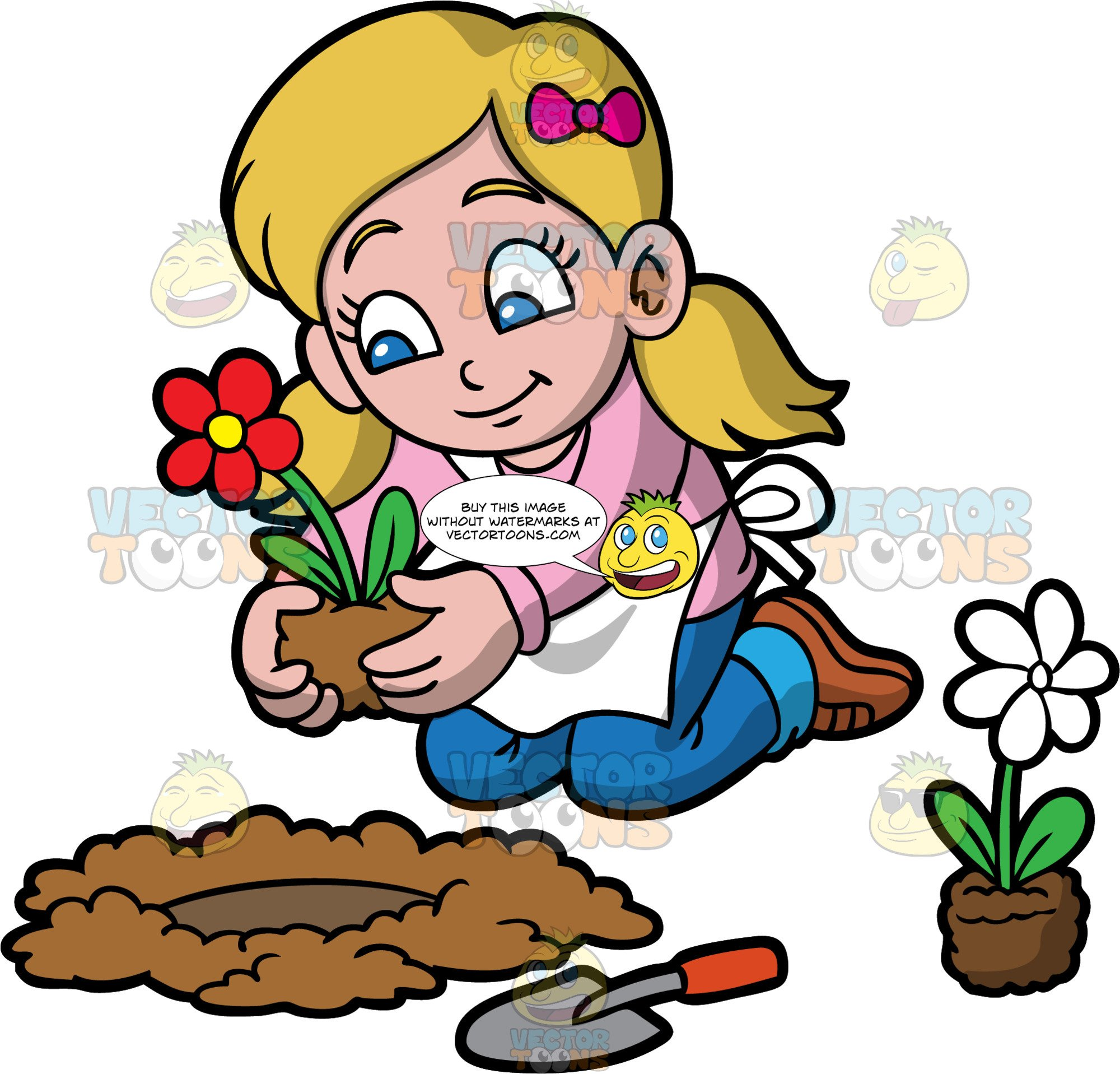 A Girl Planting A Red Flower In A Hole In The Ground.