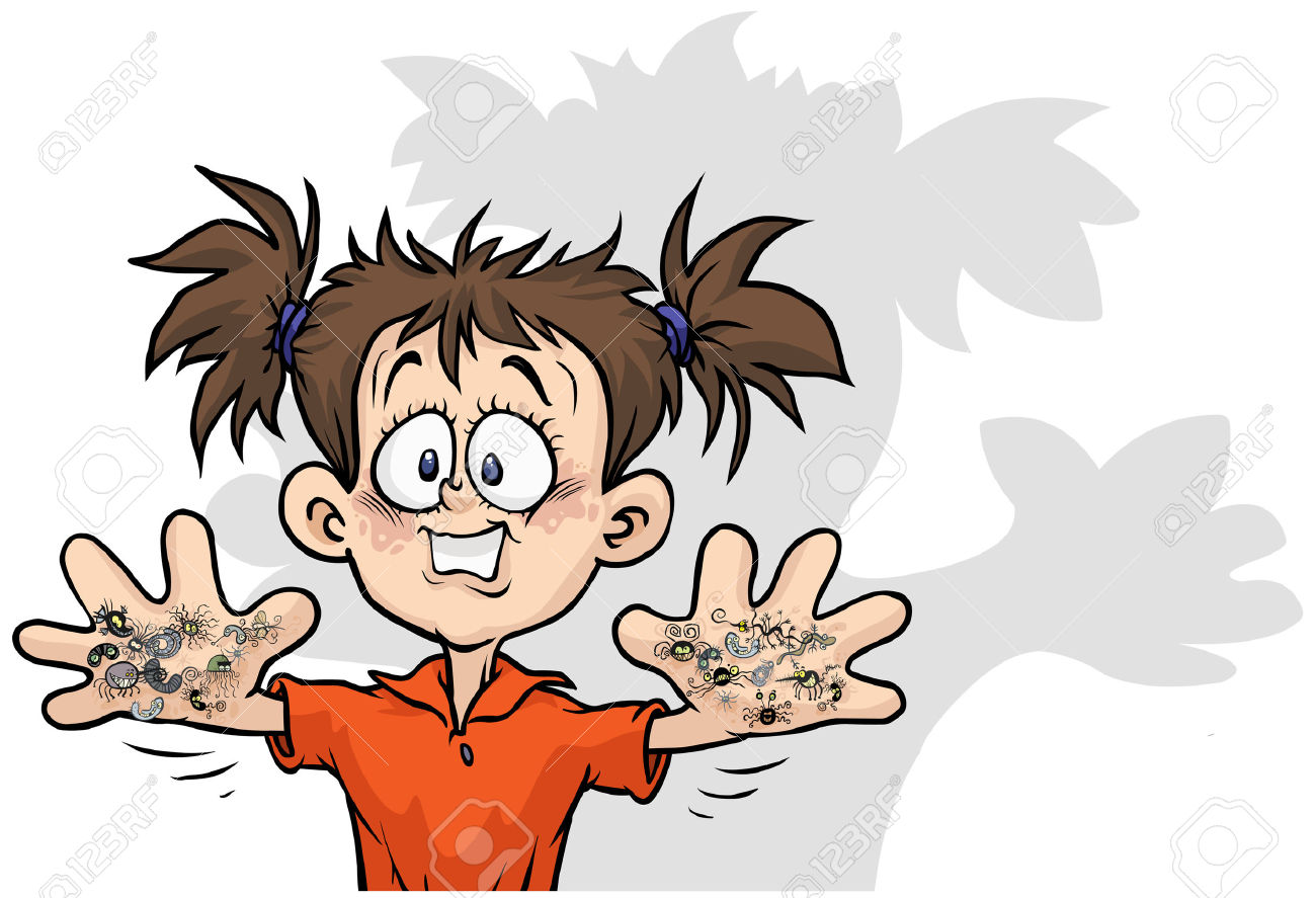 Cute Girl With Bacterias On His Hands. Royalty Free Cliparts.