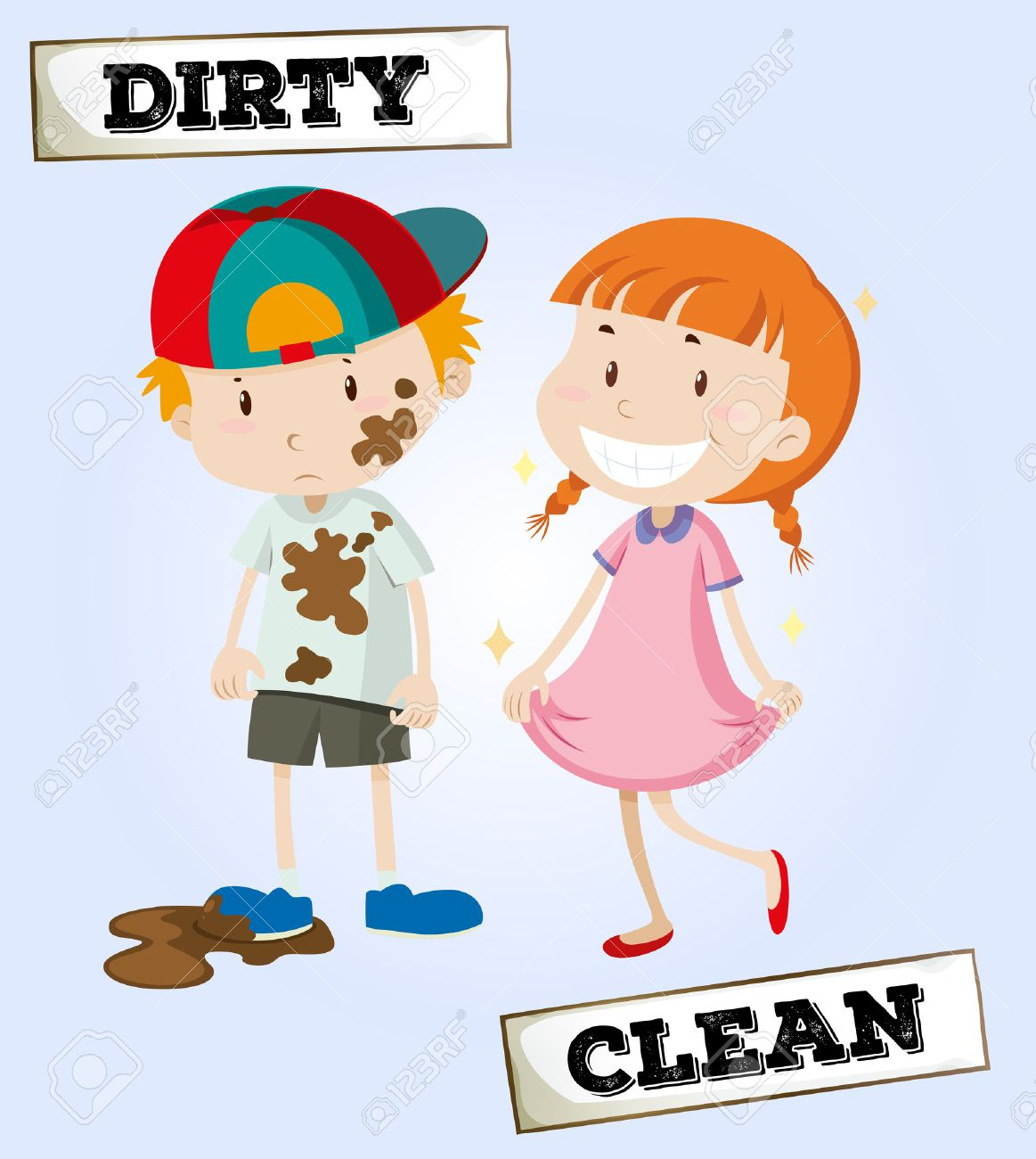 Clean And Dirty Child Clipart.