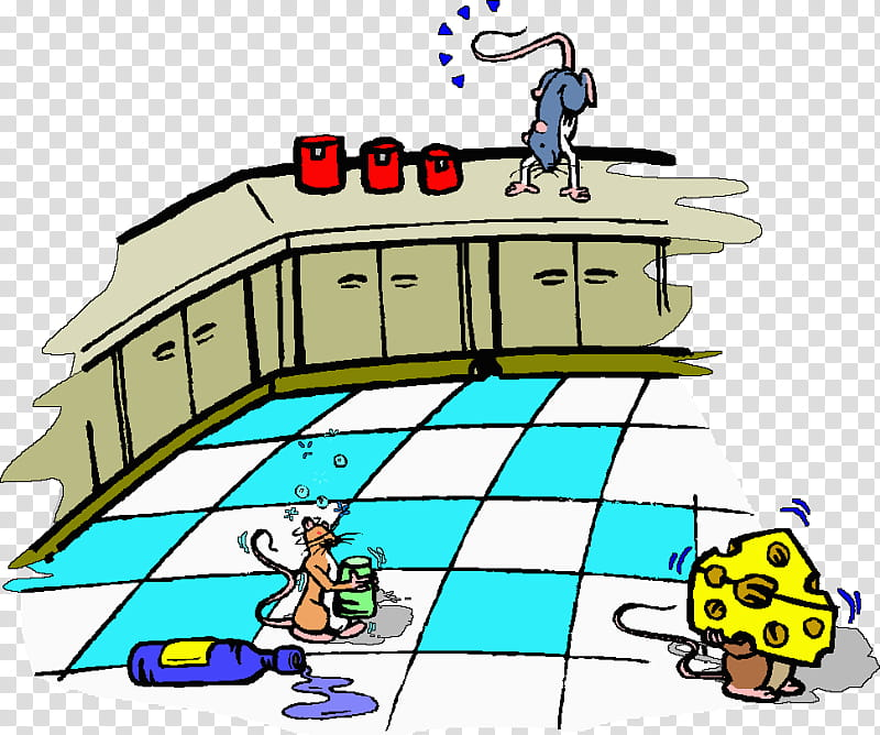 Kitchen Cartoon, Table, Cleaning, Dirty Kitchen, Countertop.