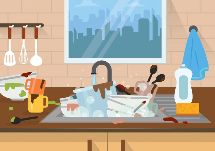 Dirty Dishes Illustration.