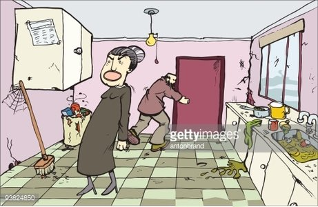 Dirty Kitchen Clipart Image.