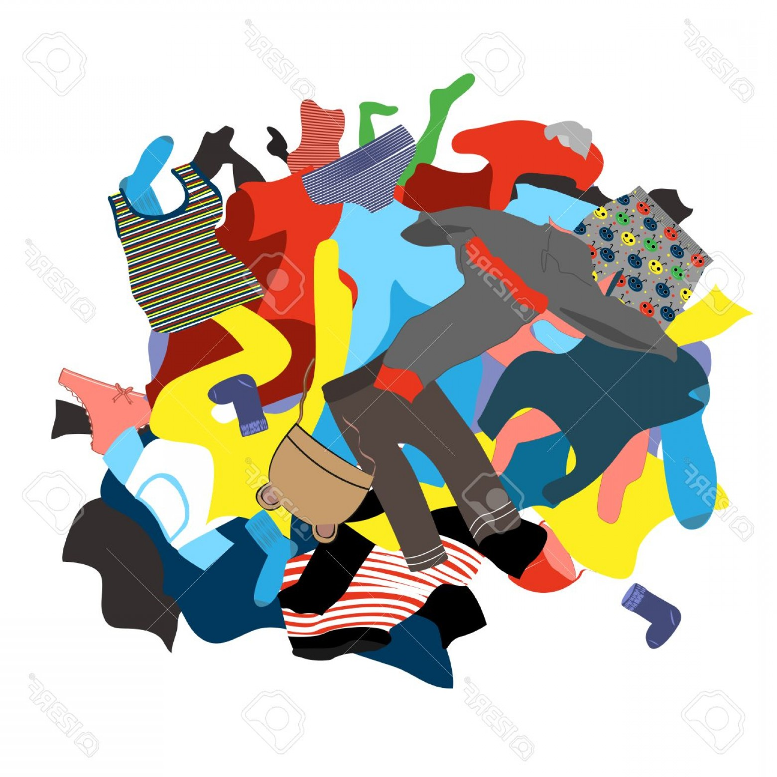 Photostock Vector Illustration Featuring A Messy Pile Of Dirty.