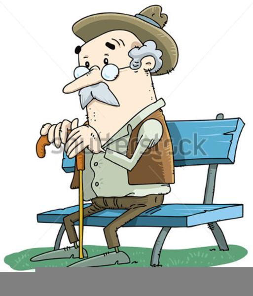 Old Men Sitting On Park Bench Clipart.