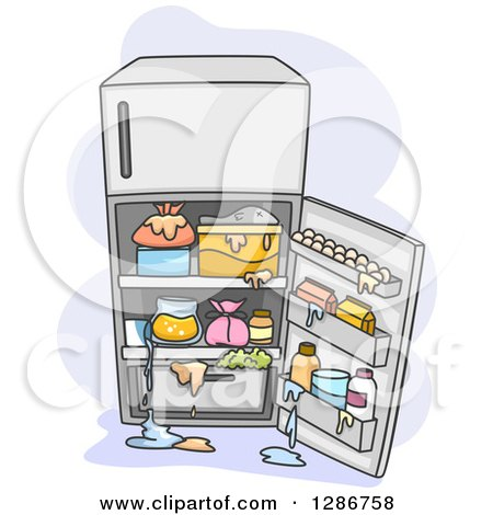Clipart of an Open Messy Refrigerator with Spills.