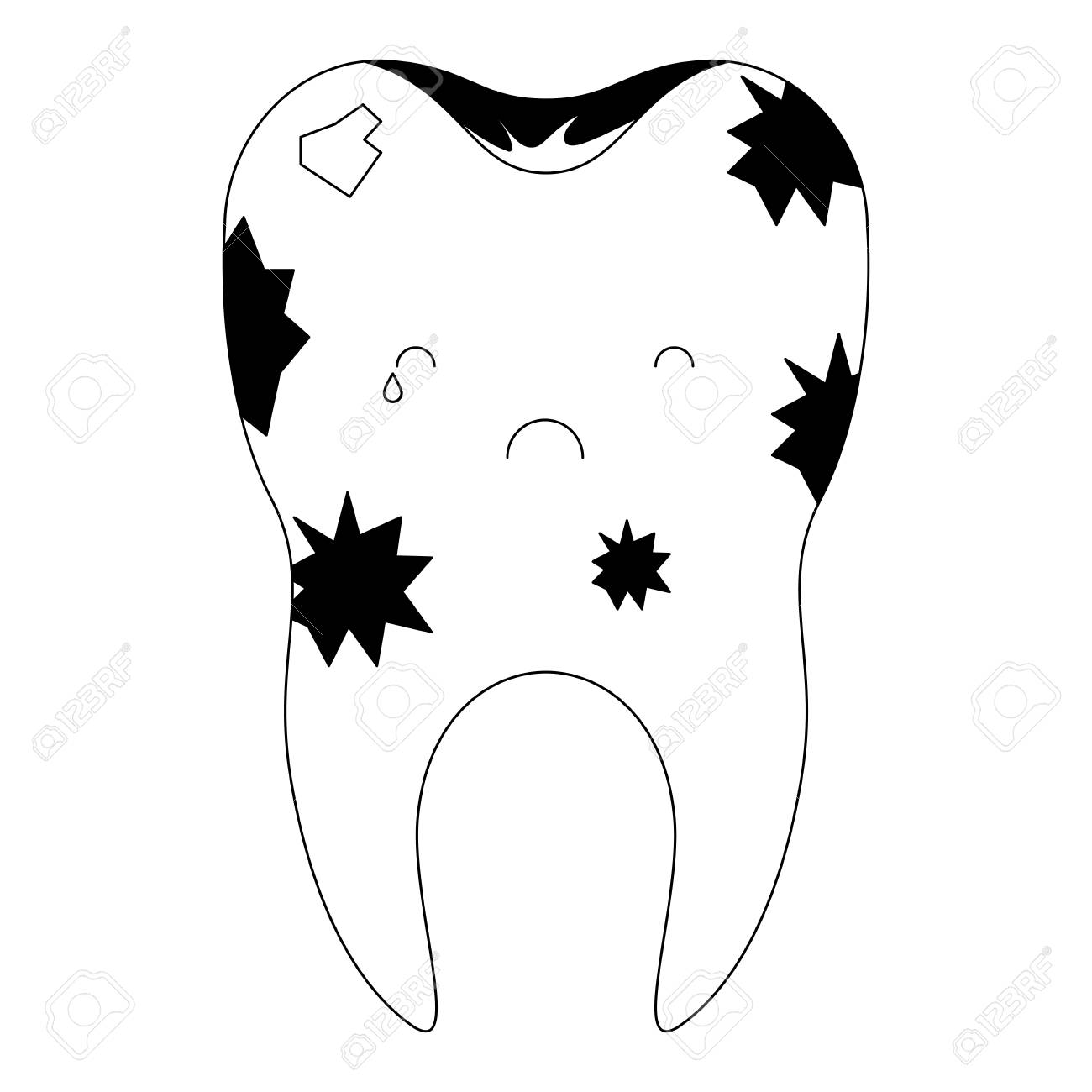 dirty tooth with root in black silhouette vector illustration.