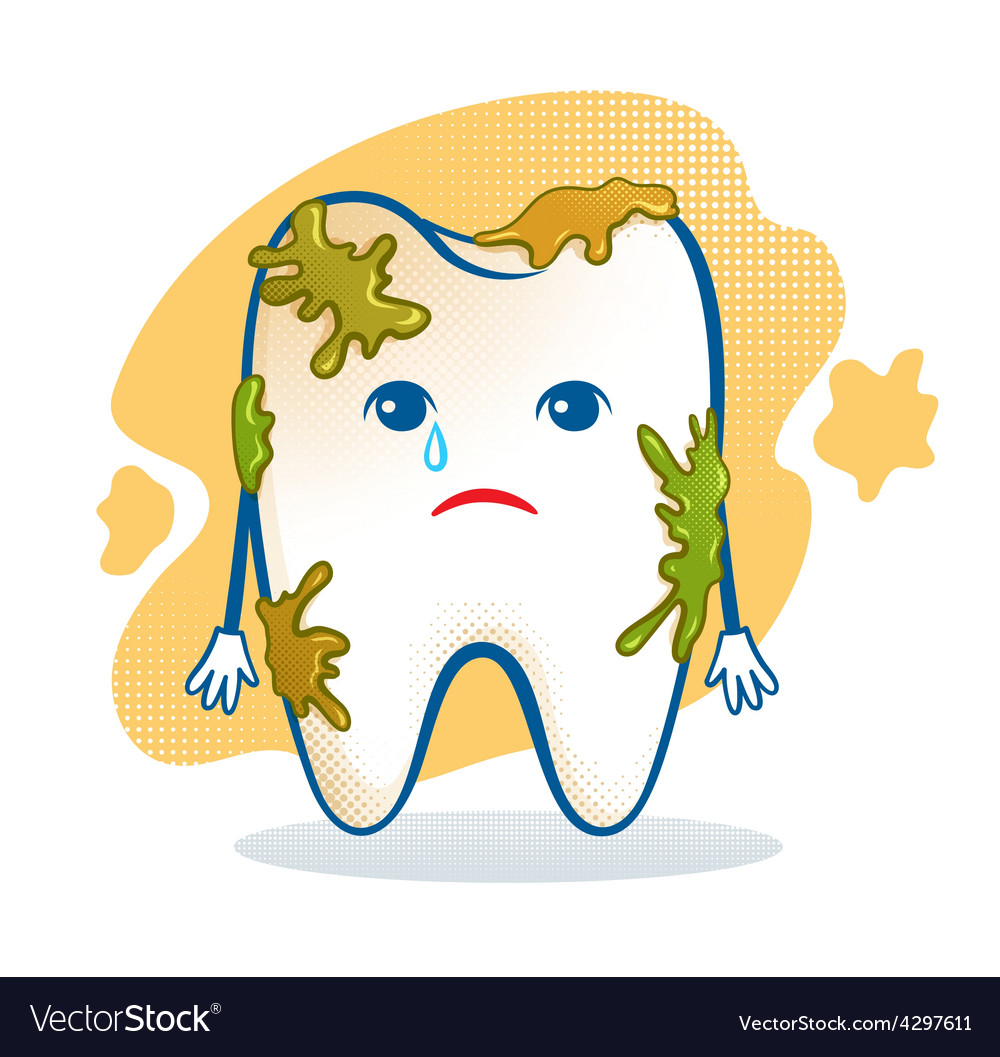 Cute aching tooth character vector image.
