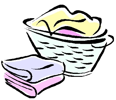 Dirty Laundry Basket Towels Clipart Black And White, Laundry.