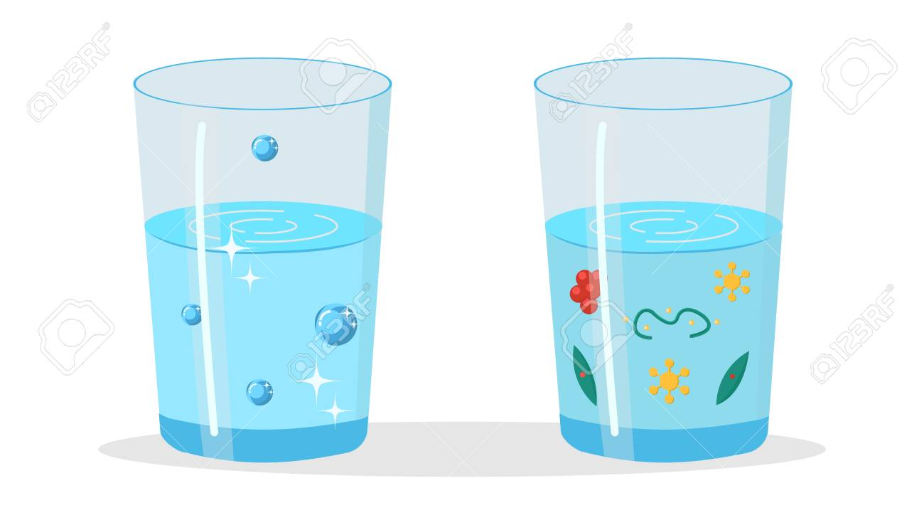 Glasses with Pure and Dirty Water Illustration. Blue Fluid with...