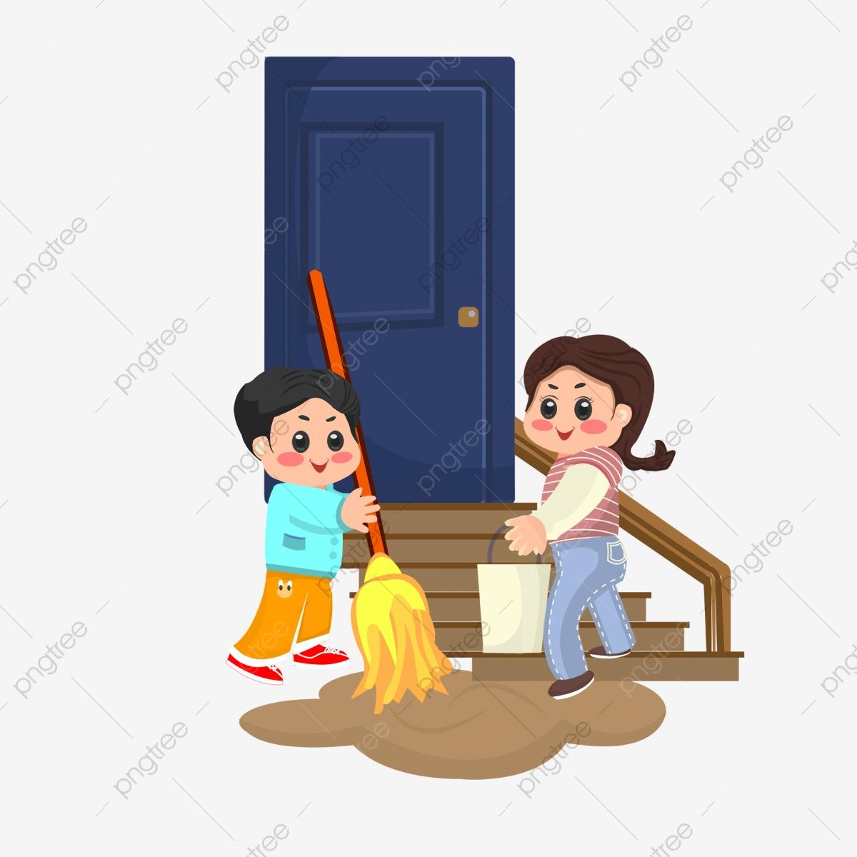 Community Service Clean Community Mop Clean Up Dirty Water, Doorway.
