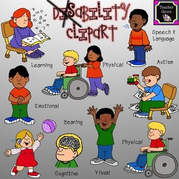 This disability clipart set includes 45 images! There are 9 distinct.