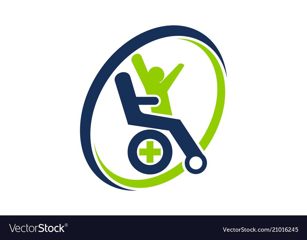 Disability care logo design template.