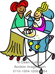 Clipart Illustration of Child With Special Needs Having Egg and.