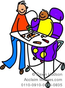 Playing disabled kids clipart.