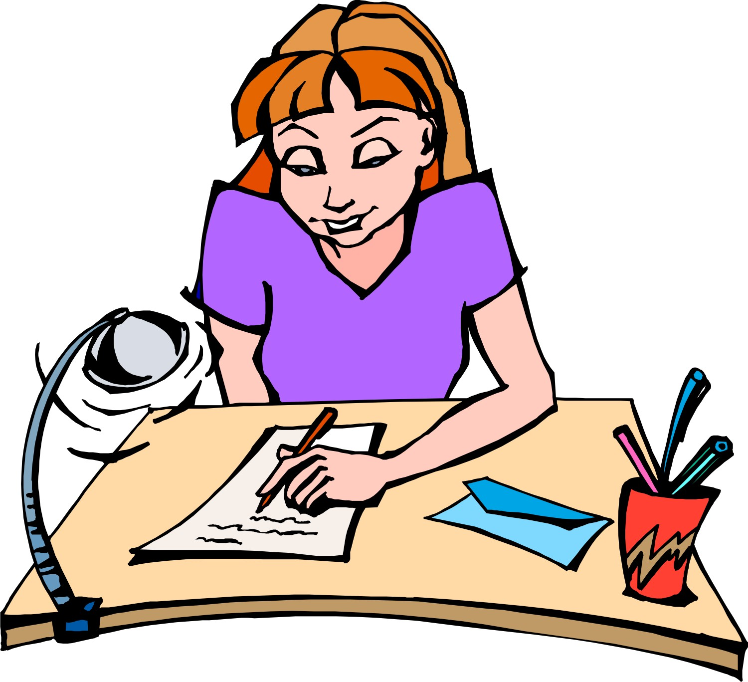 Writing disable student clipart.