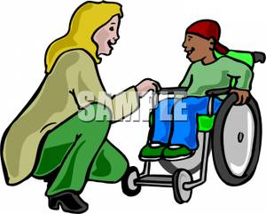 Woman Talking To a Disable Boy.