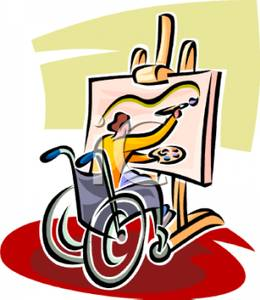 Clipart disabled person.