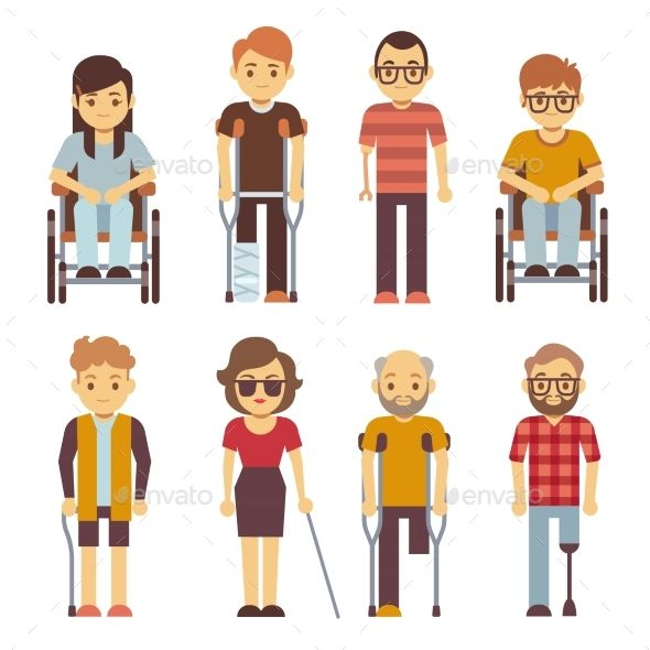 Disabled persons vector flat icons. Disabled in wheelchair.
