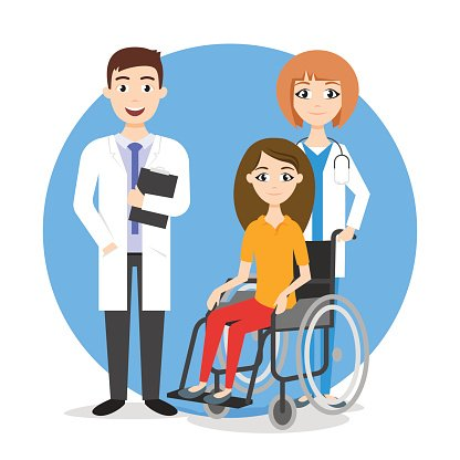 Vector illustration of disabled person in the wheelchair.