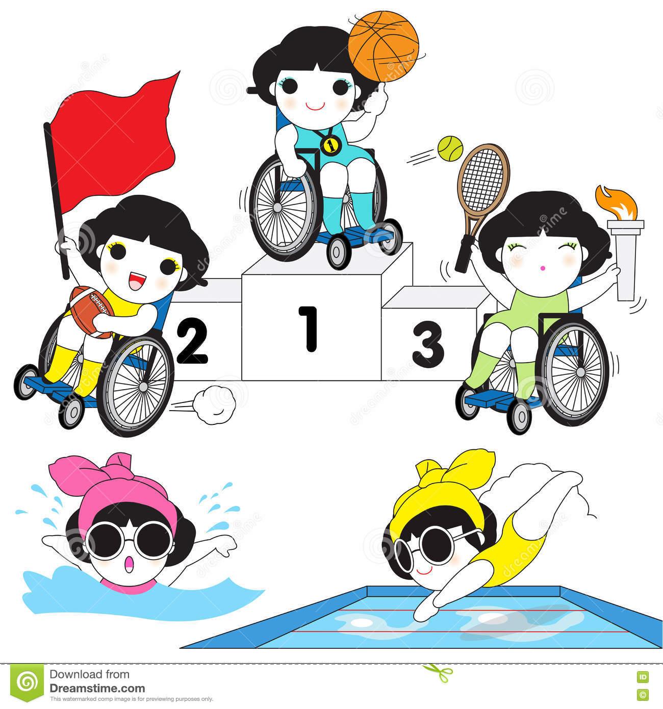 World Disabled Sports Character Illustration Set Stock.
