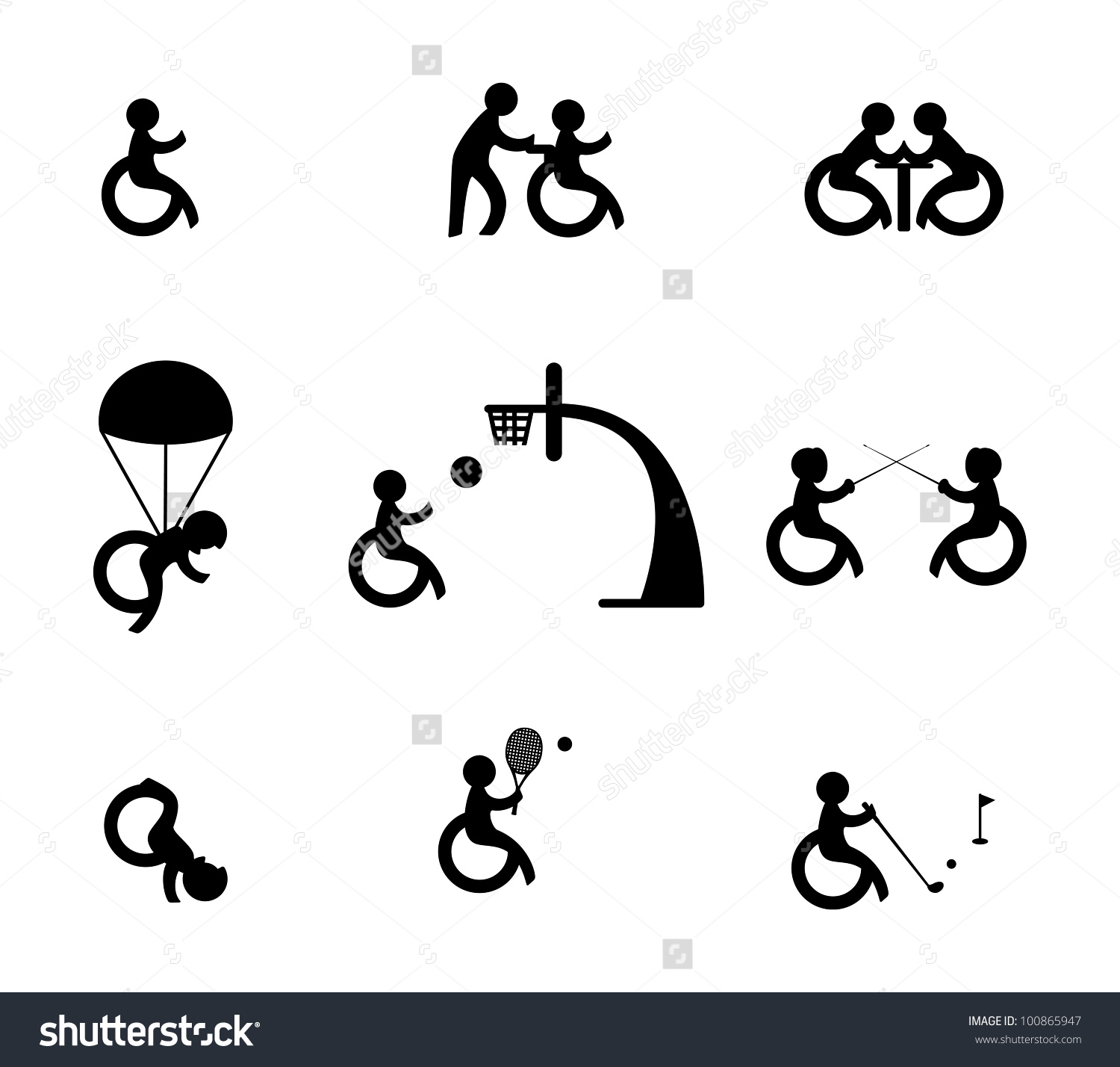 Paralympic Athlete Sports Disabled Stock Vector 100865947.