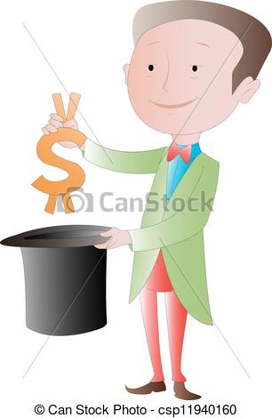 Clip Art Vector of The Business Magician: Making money disappear.