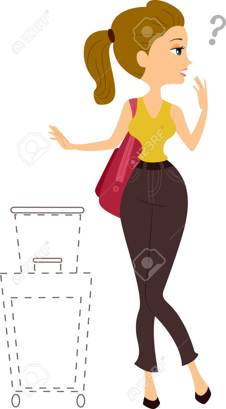 Illustration Of A Girl With Missing Traveling Bag Stock Photo.