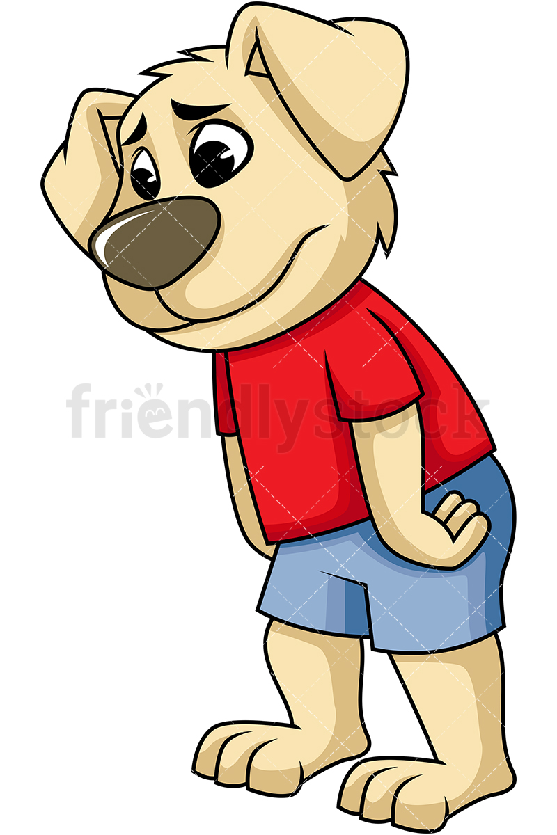 Disappointed Dog Mascot Character.