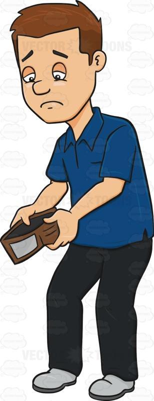 Bankrupt Man Looking Sad At Wallet.