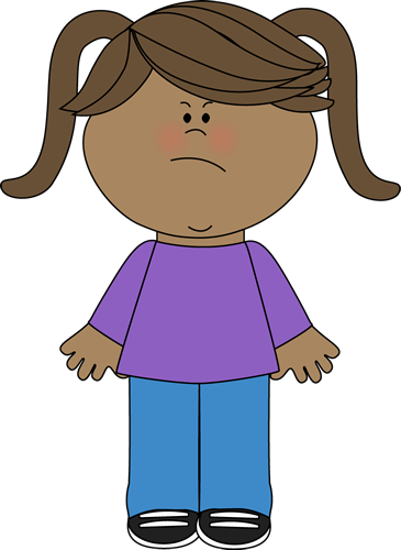 Disappointed Mad Young Girl Clipart.