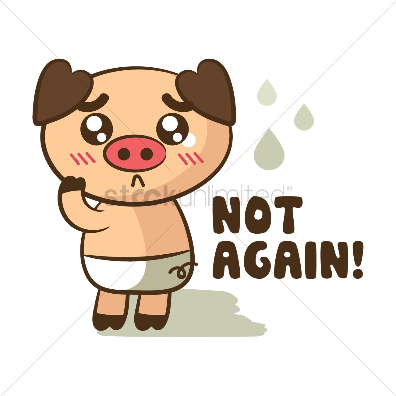 Cartoon pig feeling disappointed Vector Image.