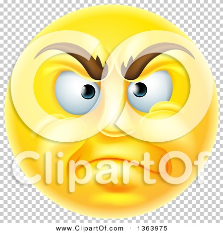 Clipart of a 3d Disapproving Yellow Male Smiley Emoji Emoticon.