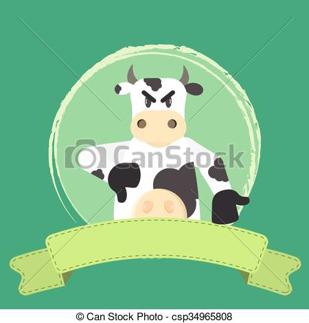Vector Clipart of Cow disapproval and ribbon.