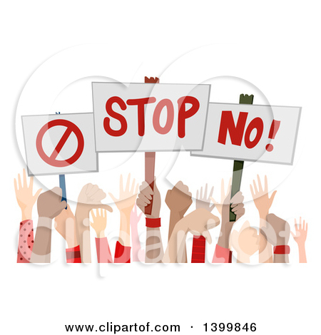 Clipart of Hands Holding up Disapproving Signs.