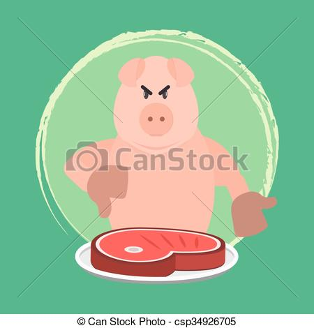 Vector Clipart of Angry pig and no pork.