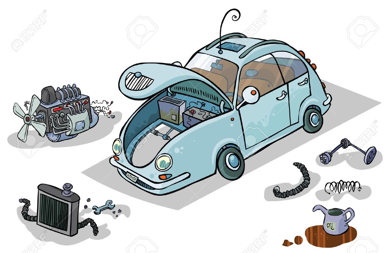 Cartoon Illustration Of A Car With His Parts Royalty Free Cliparts.