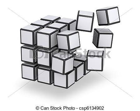 Clip Art of Cube being assembled or disassembled.