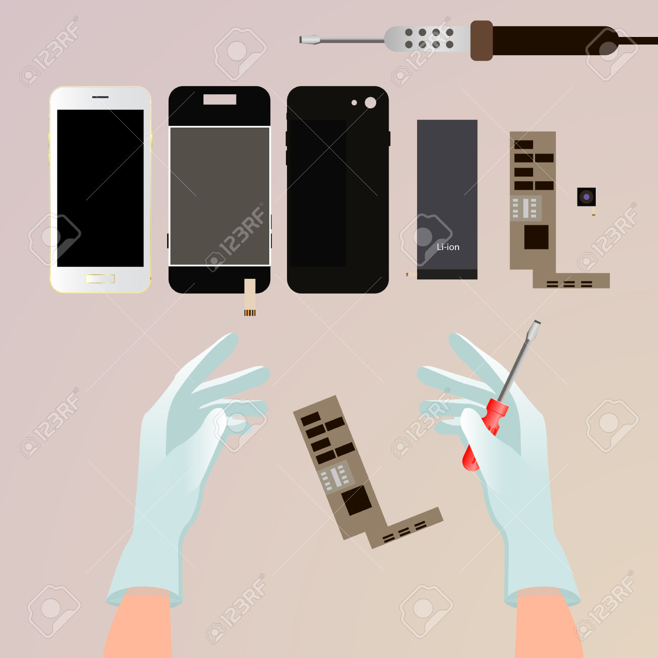 Repair The Phone. Hand With A Screwdriver, Disassembled The Phone.