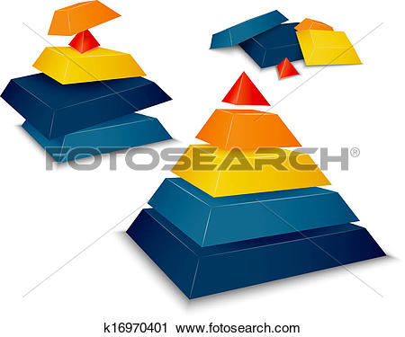 Clipart of Pyramid assembled and disassembled k16970401.